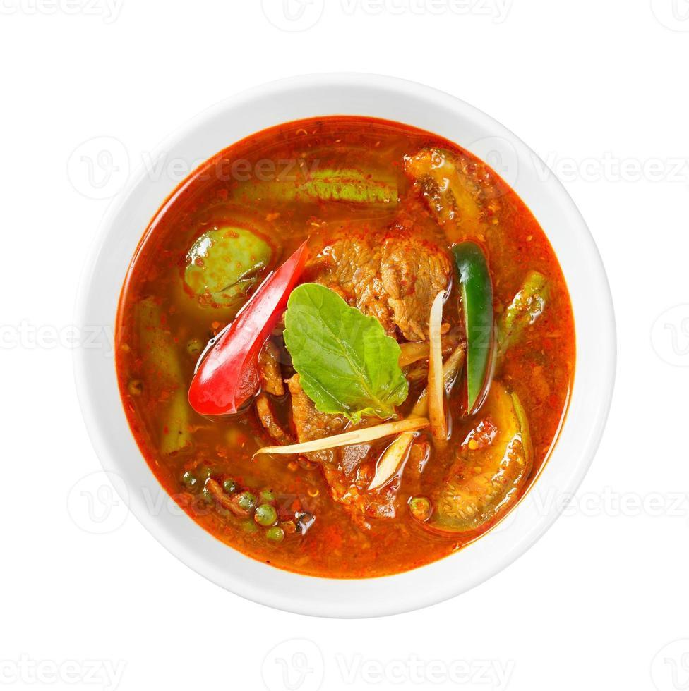 pittige rode curry met varkensvlees foto