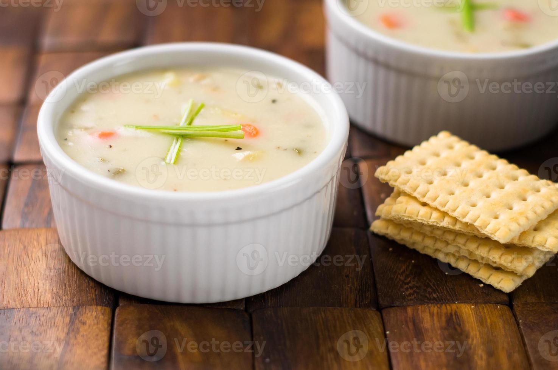 clam chowder soep foto