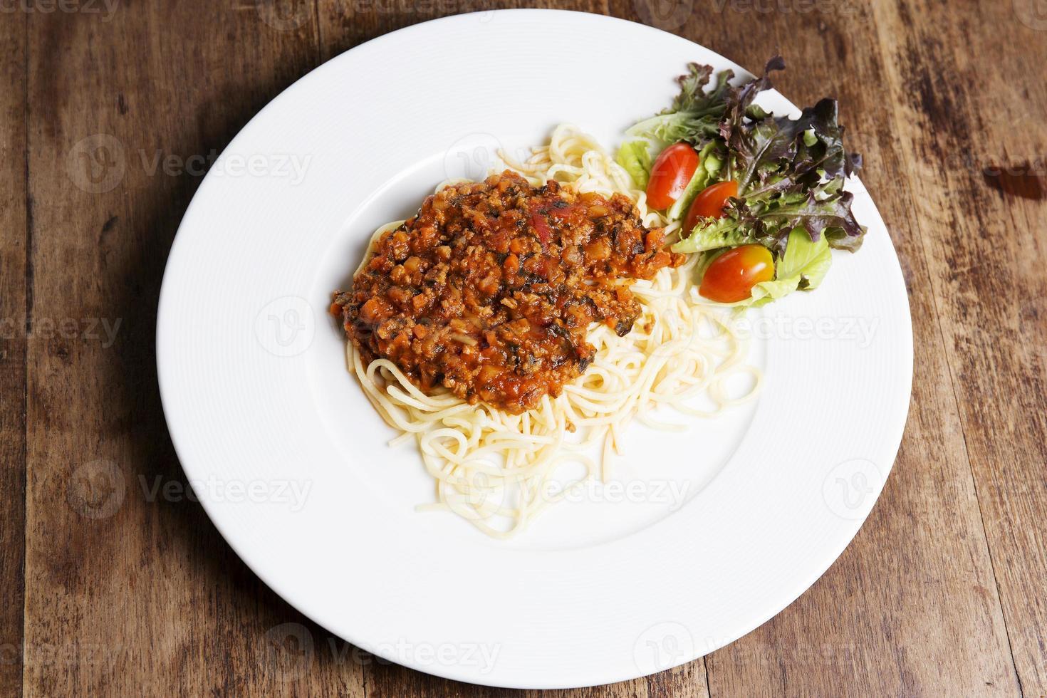spaghetti met gehakt saus foto