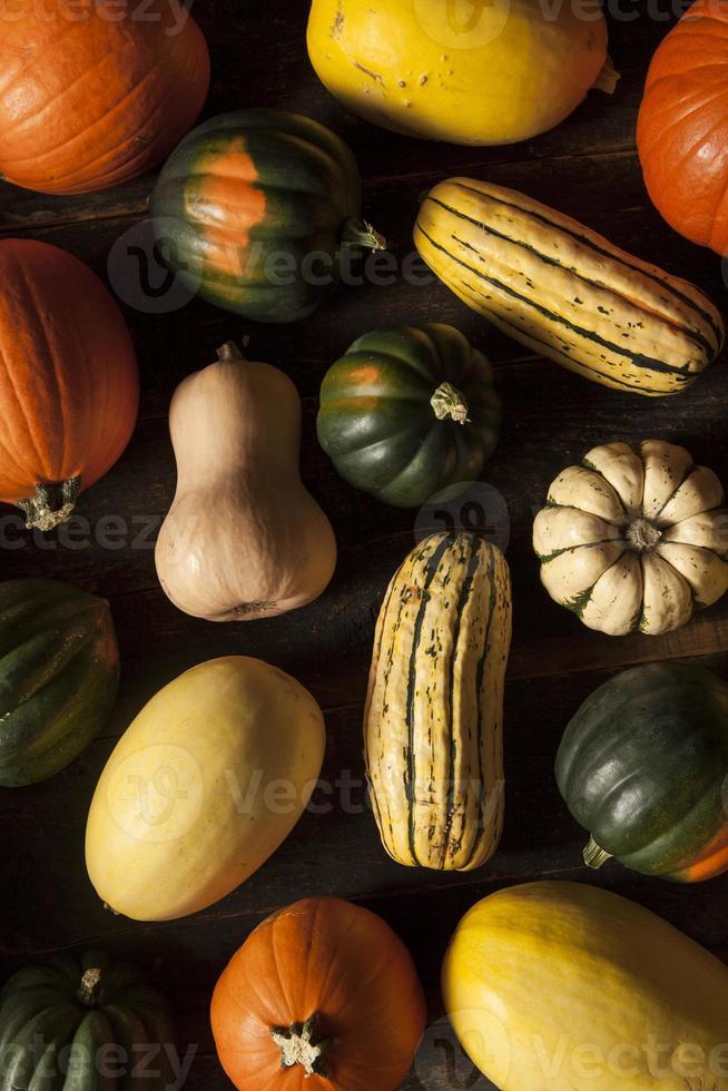 biologische geassorteerde herfstpompoen foto