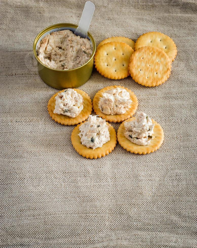 cracker met tonijnpasta foto