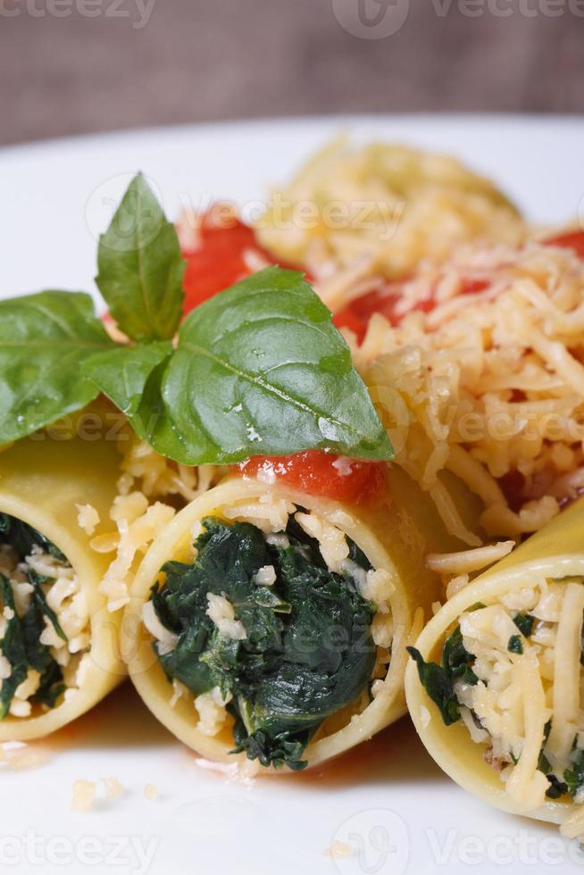 Italiaanse cannelloni met spinazie, kaas en tomatensaus foto