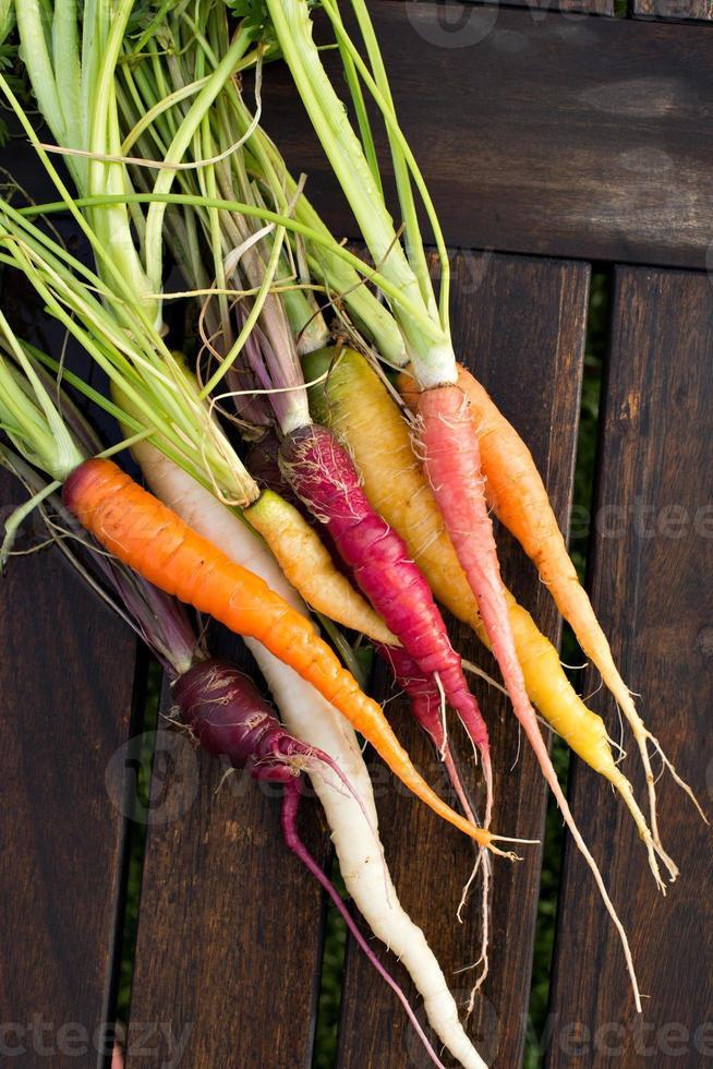 verse kleurrijke wortelen foto