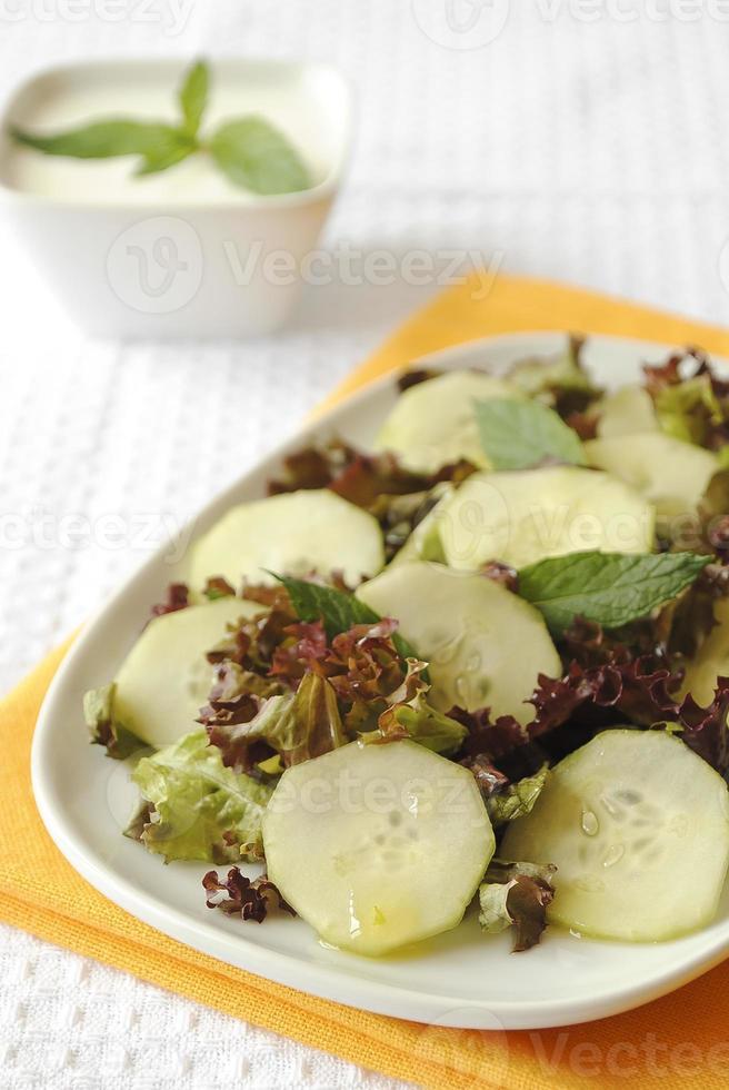 insalata di cetrioli e lattuga rossa foto