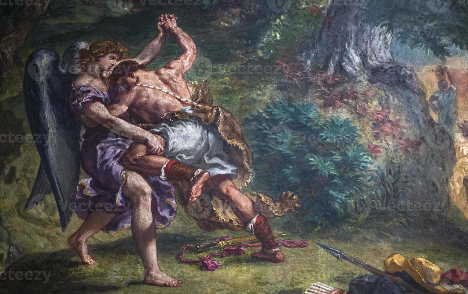 delacroix fresco's, eglise saint sulpice, paris, frankrijk foto