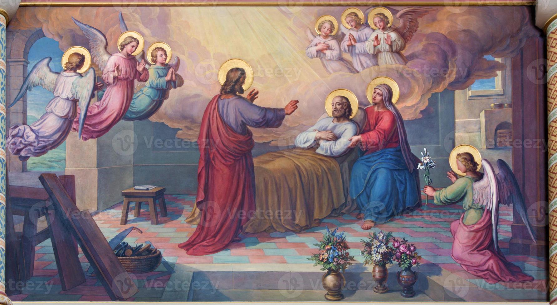 vienna - de dood van st. Joseph fresco foto