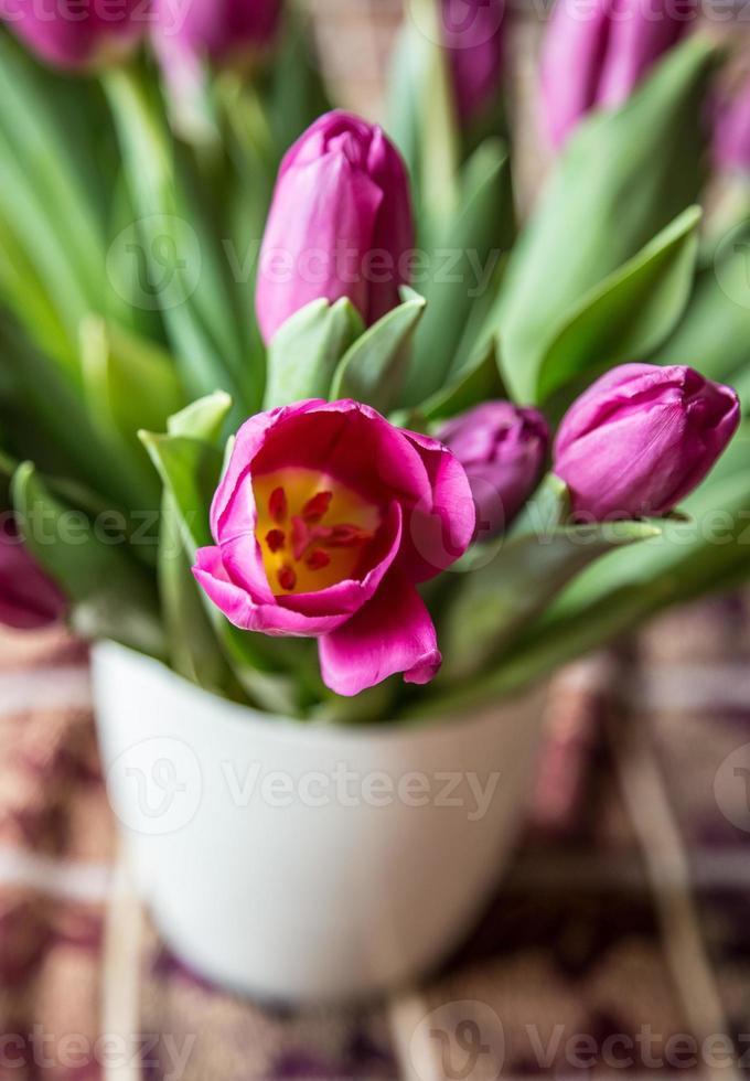 roze tulpen in witte vaas foto
