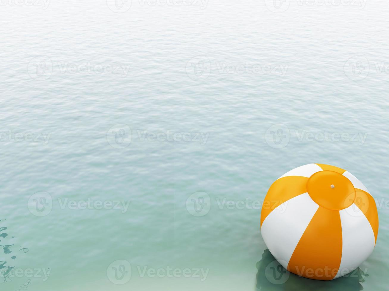 3d blauw water met strandbal. foto