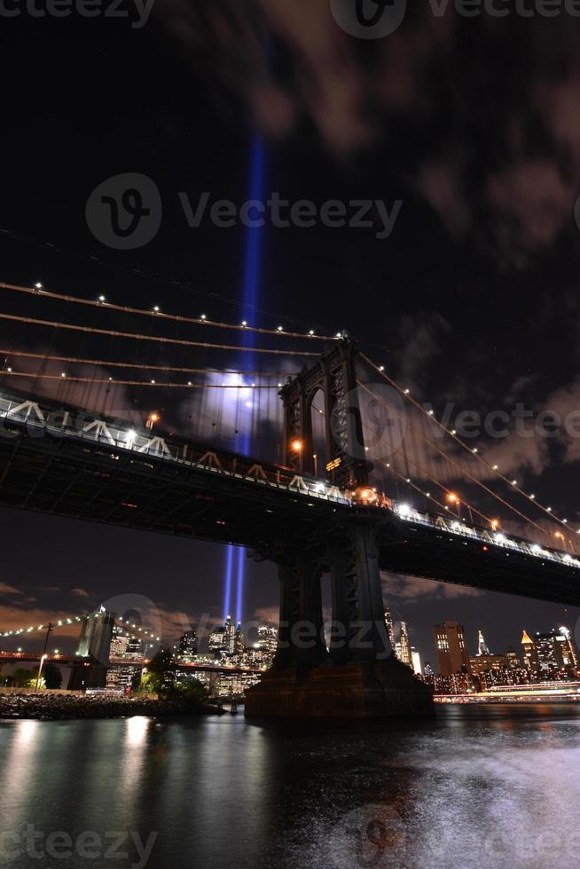 New York skyline hulde lichten foto