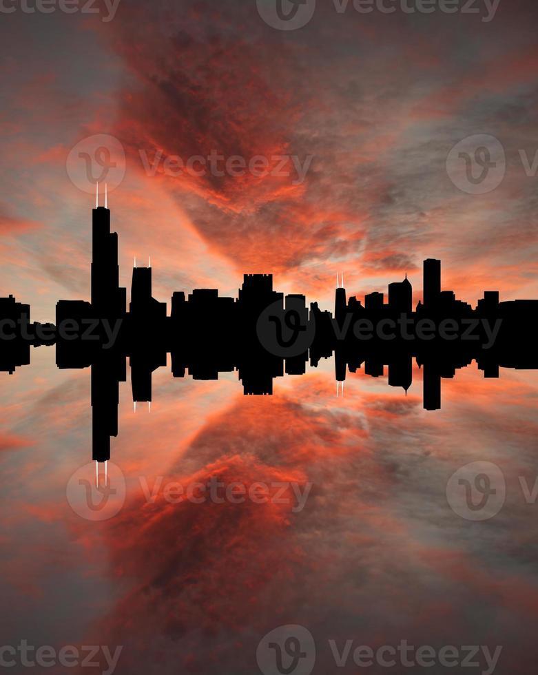 Chicago skyline bij zonsondergang foto