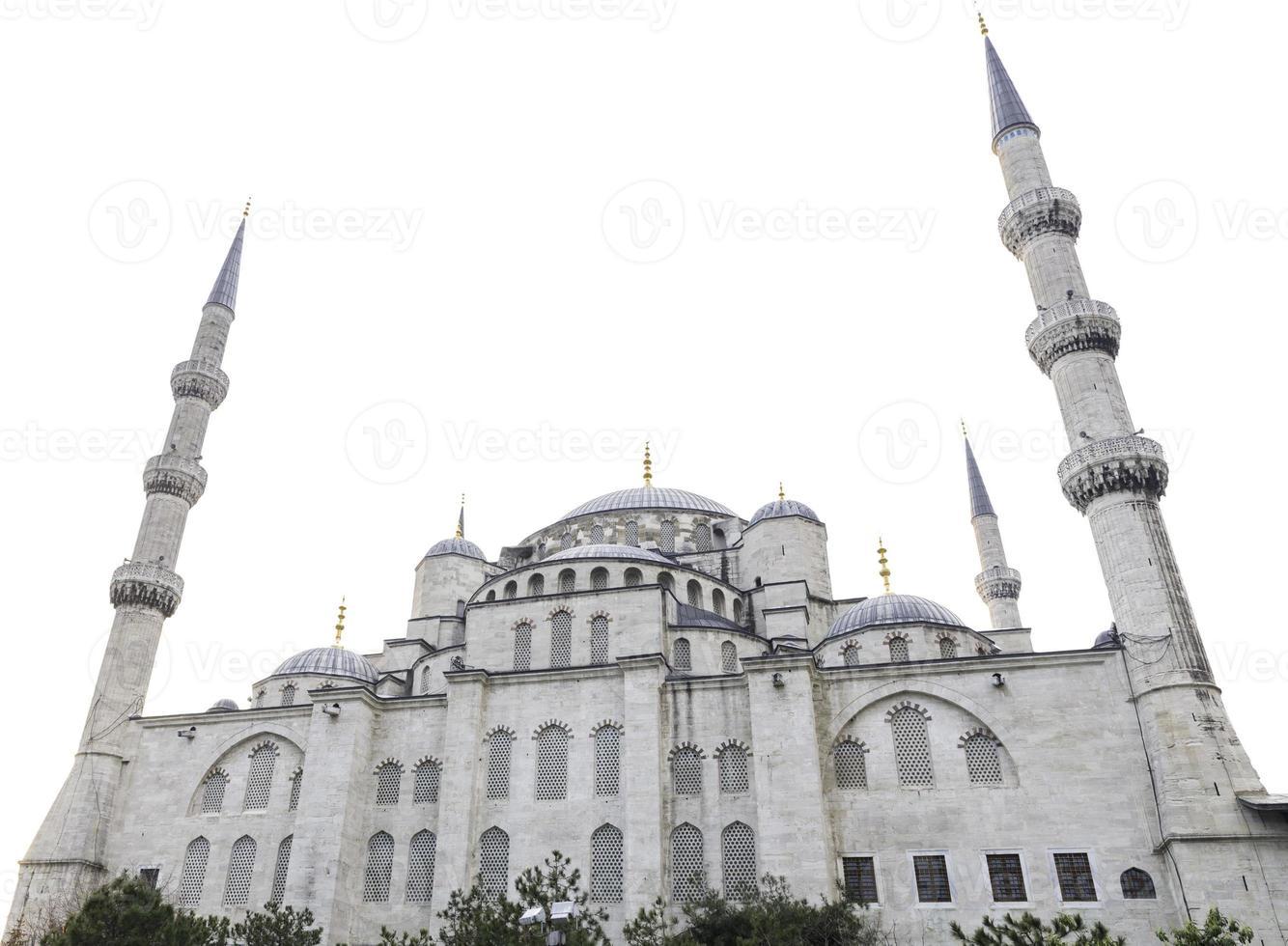 blauwe moskee en witte lucht, istanbul, turkije foto