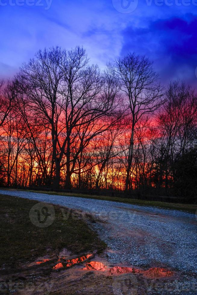zonsondergang weg foto