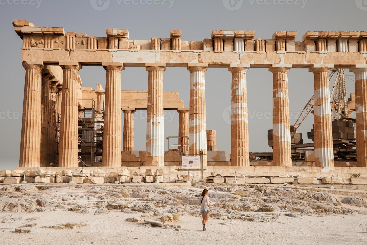 de toerist in de buurt van de Akropolis van Athene, Griekenland foto