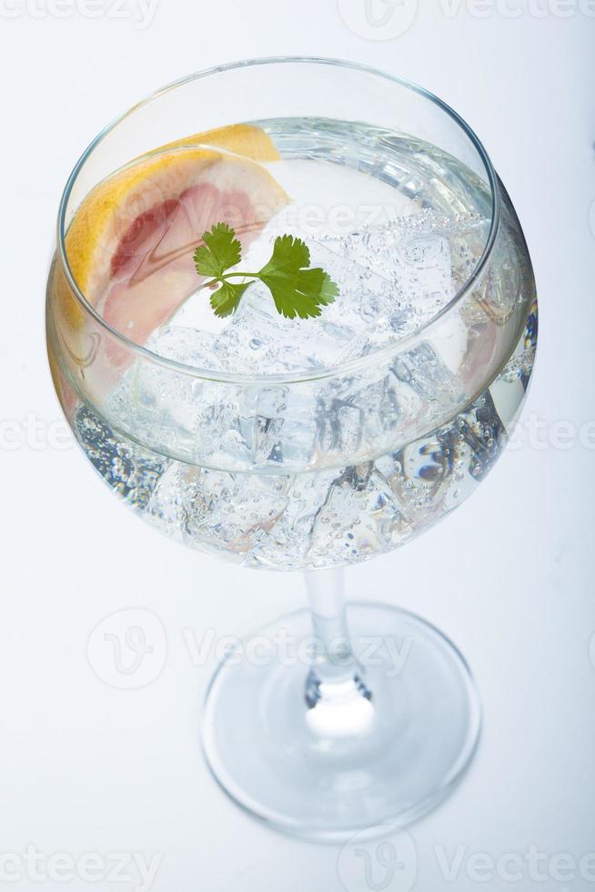 grapefruit en peterselie gin tonic geïsoleerd over wit foto