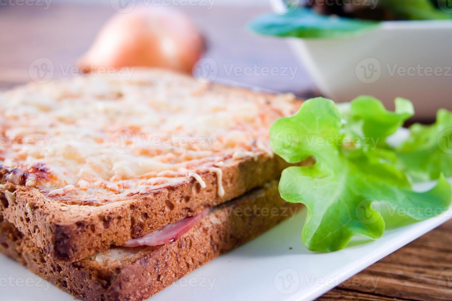 gegrilde Franse sandwich met salade foto