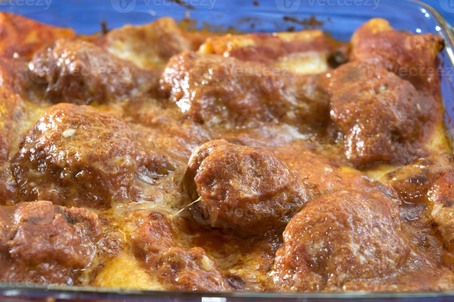 gehaktballen pasta bakken foto