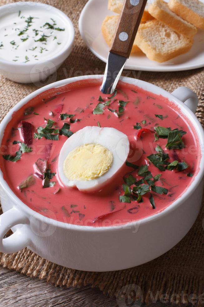 koude bietensoep met ei en kruidenclose-up. verticaal foto