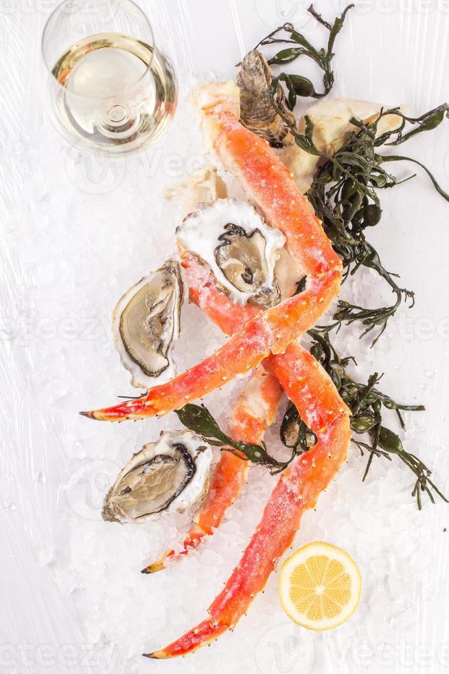 krabcluster en oesters foto