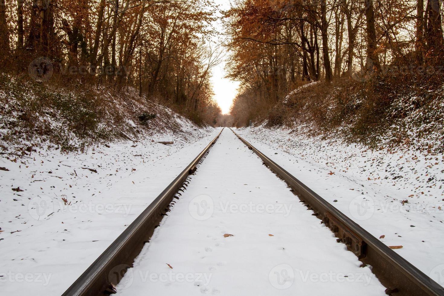 besneeuwde spoorlijn foto