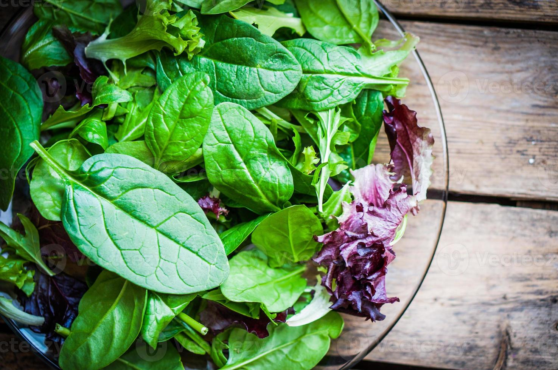 frisse groene salade met spinazie, rucola, romane en sla foto