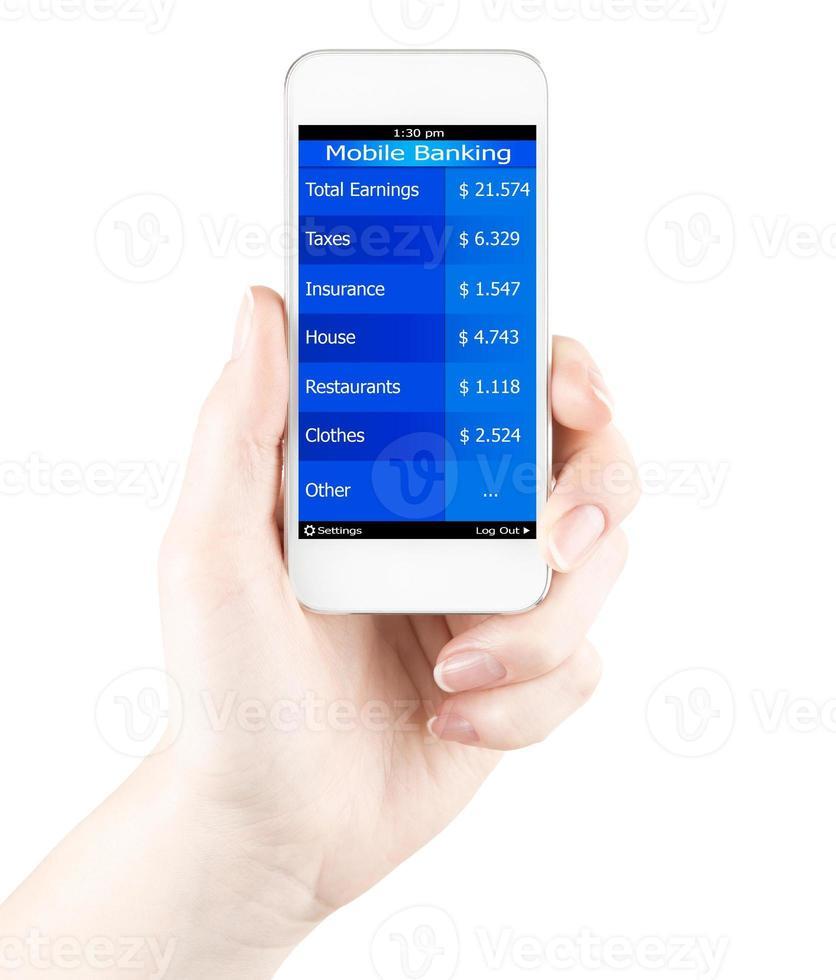 mobiel bankieren in smartphone foto