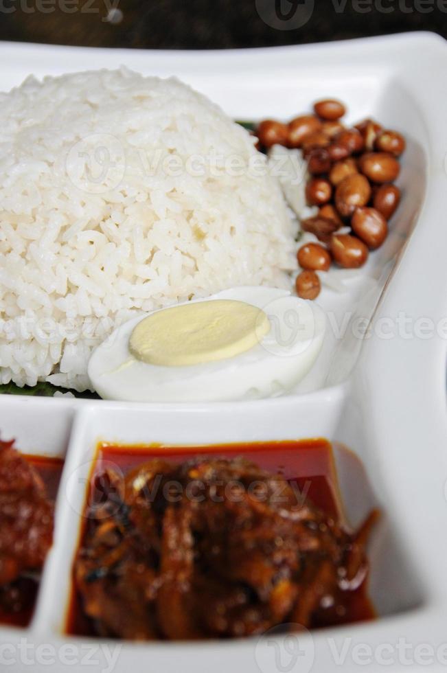 Aziatische nasi lemak (verticaal) foto