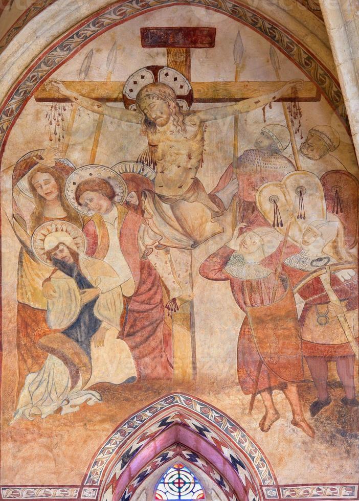 cordoba - het middeleeuwse fresco van de kruisiging foto