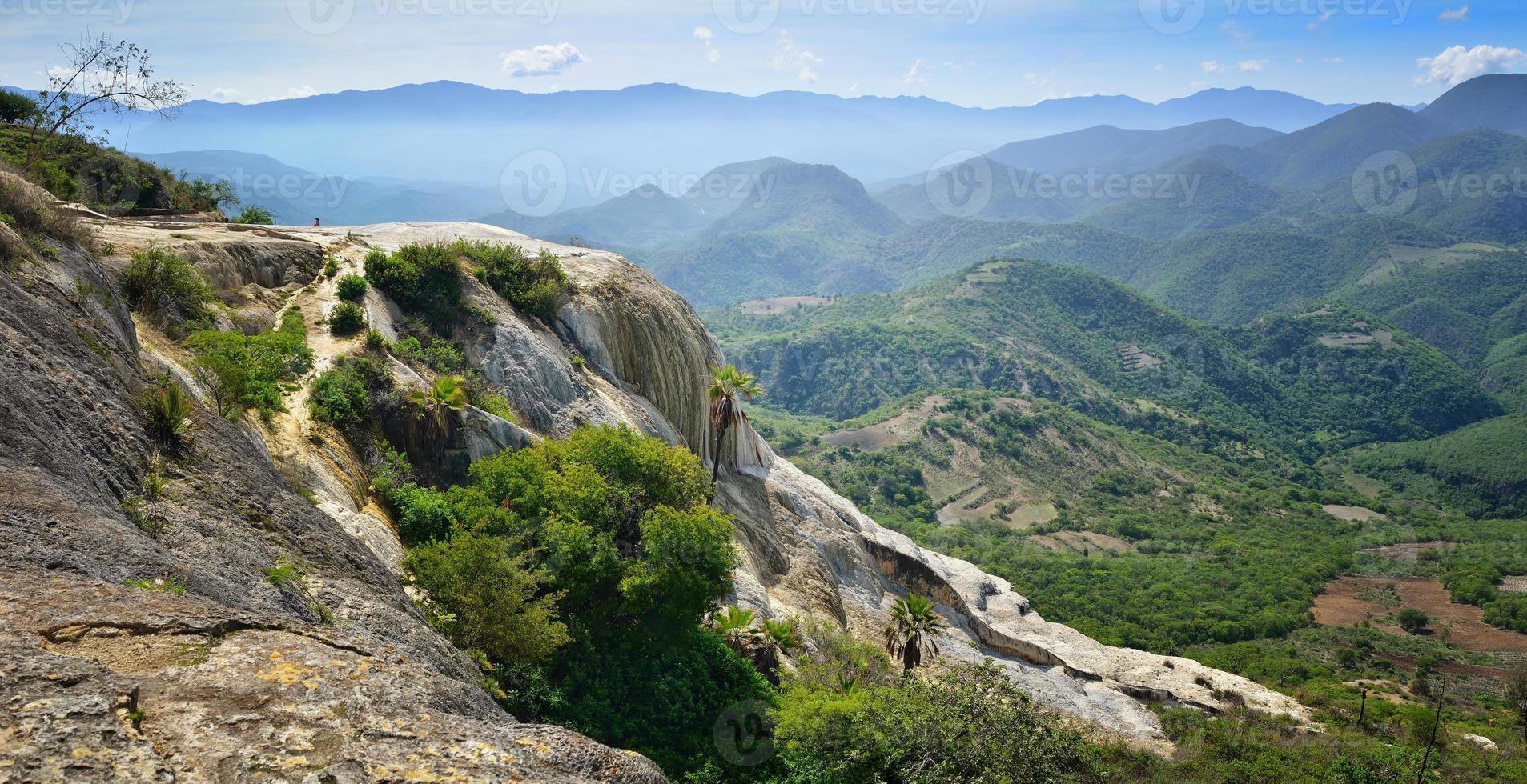 panoramisch uitzicht op bergen vanaf warmwaterbronnen hierve el agua foto