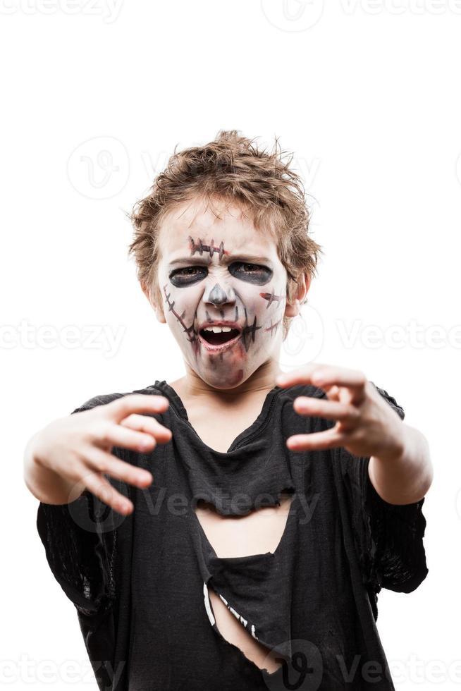 schreeuwende lopende dode zombiekindjongen foto