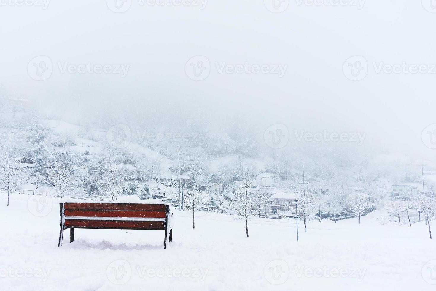bankje en besneeuwde winterlandschap foto