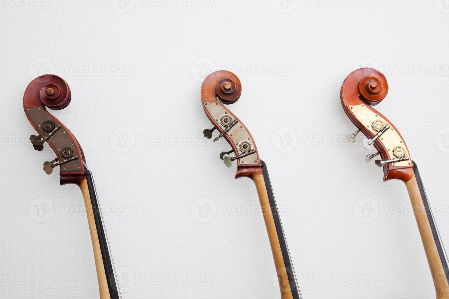 koppen van drie contrabassen op een rij foto
