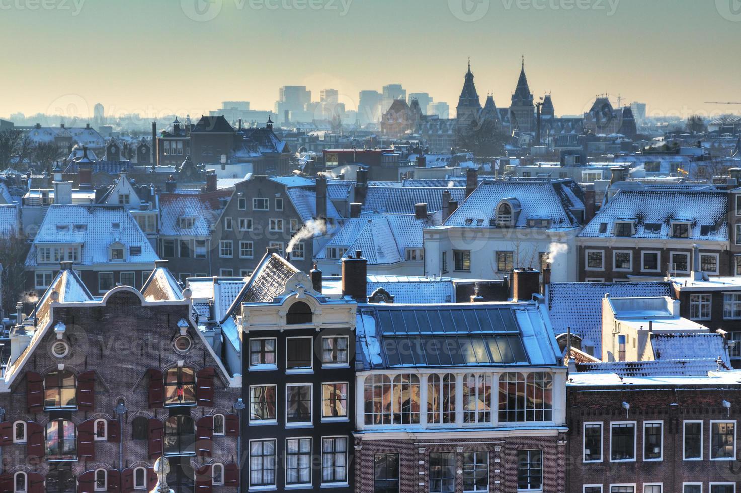 amsterdam winter skyline foto