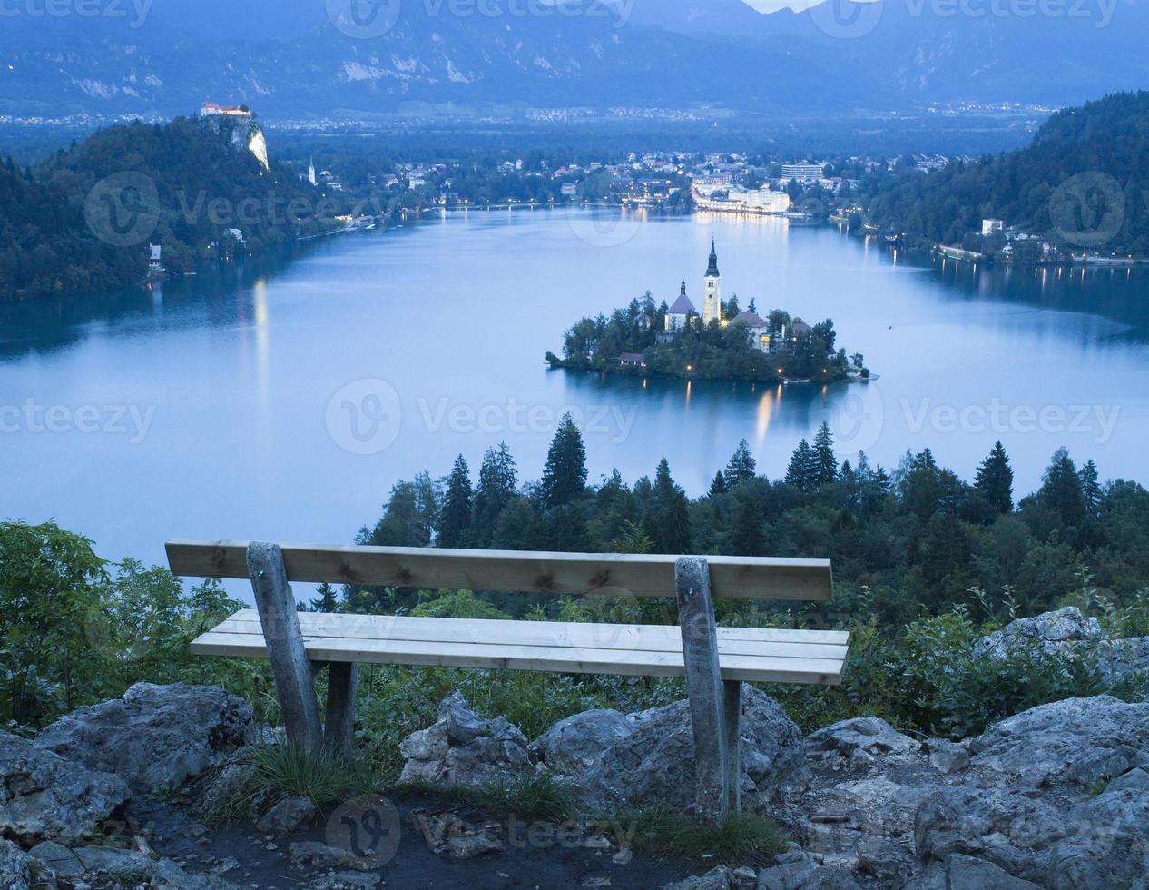 Bled uitzicht op het meer foto