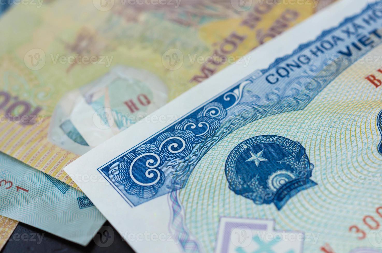 achtergrond van bankbiljetten. Vietnamese dong foto