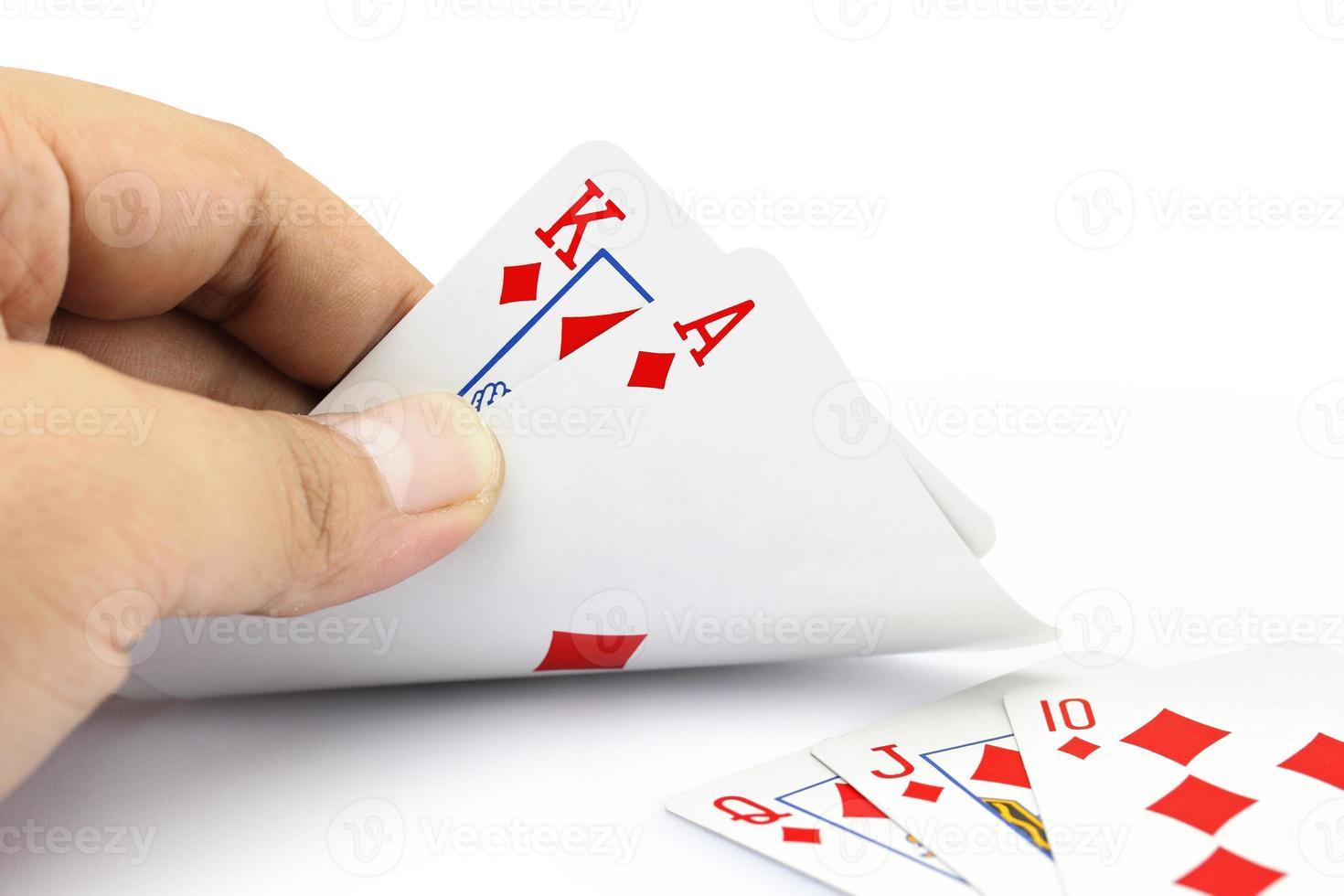 koning en aas diamant van pokerspel foto
