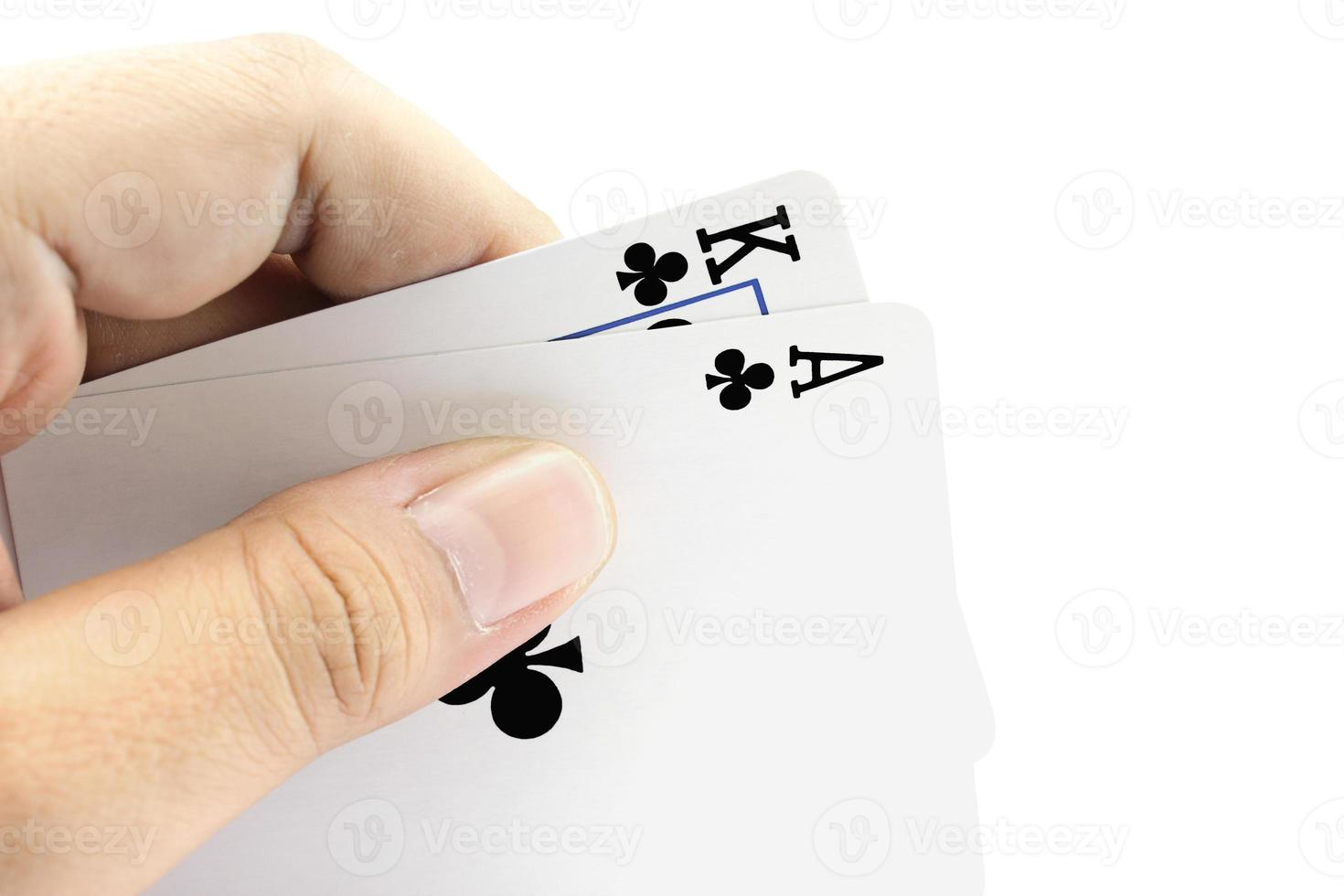 black jack kaart van clubs in de hand foto