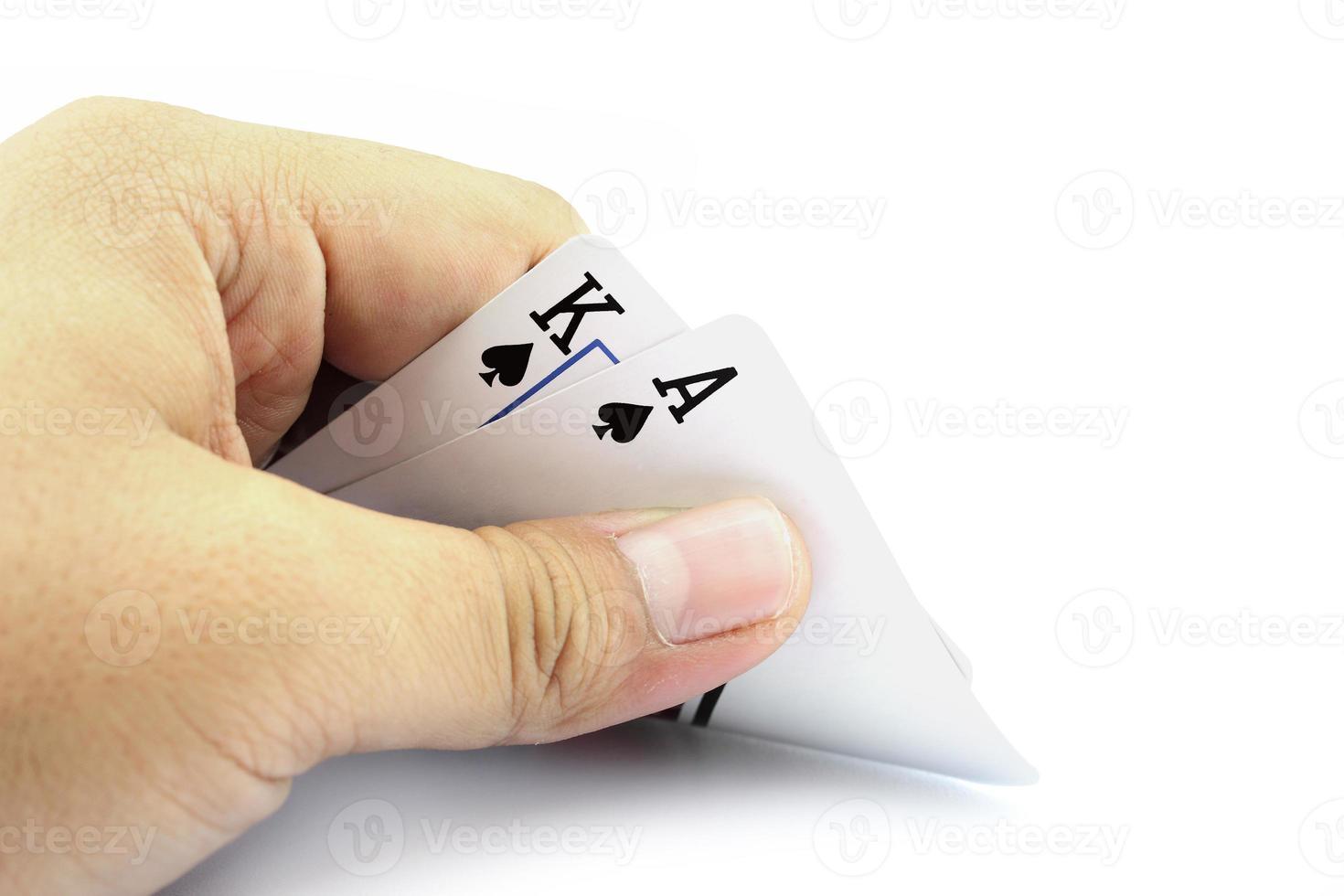 black jack kaart van schoppen in de hand foto
