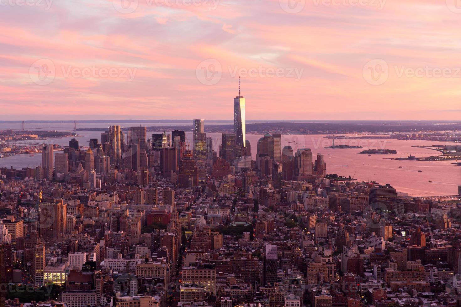 zonsondergang over Manhattan foto