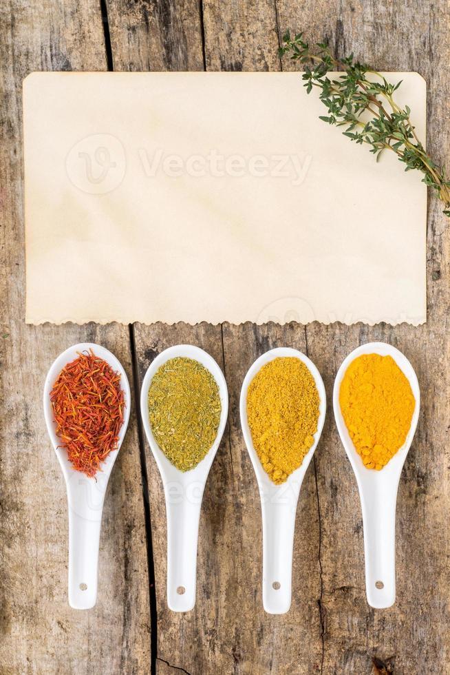 recept spice achtergrond. verschillende pittige mix foto