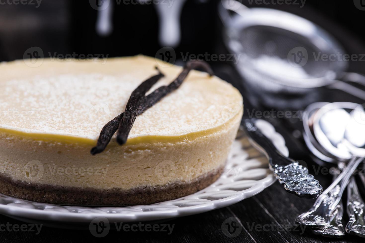 zelfgemaakte vanille cheesecake foto