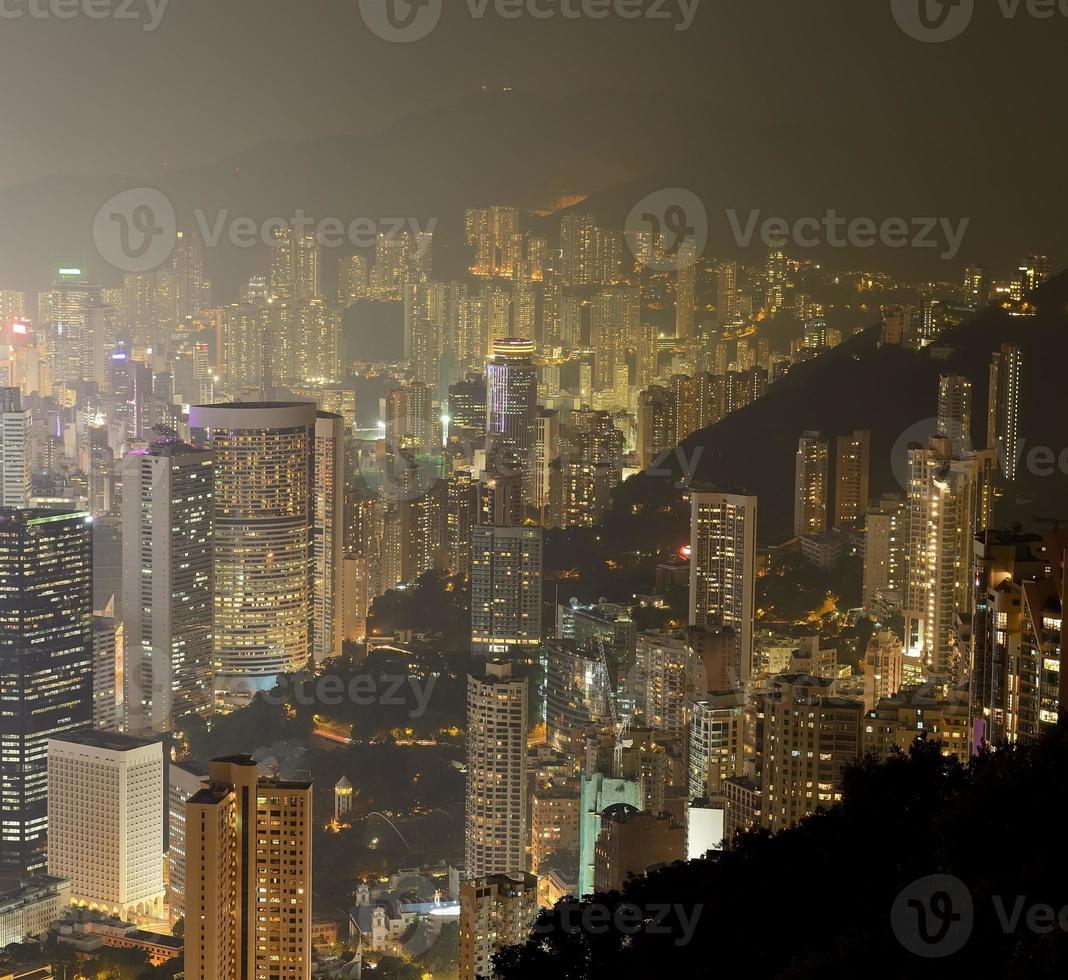 hong kong, stad skyline, panorama, op de avond foto