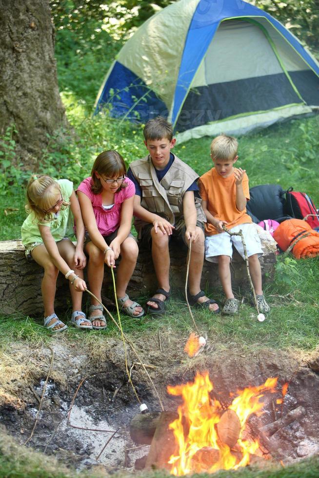 kinderen op camping marshmallows roosteren foto