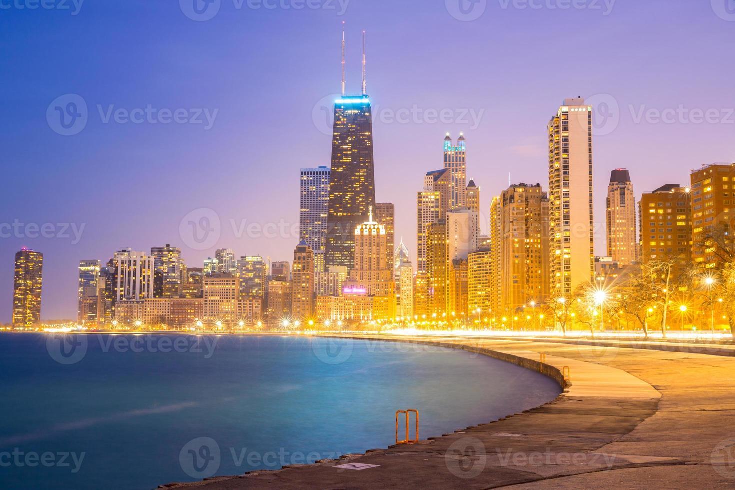 Chicago centrum en Lake Michigan foto