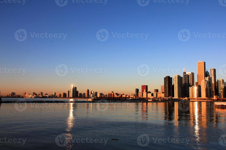 Chicago bij zonsopgang foto