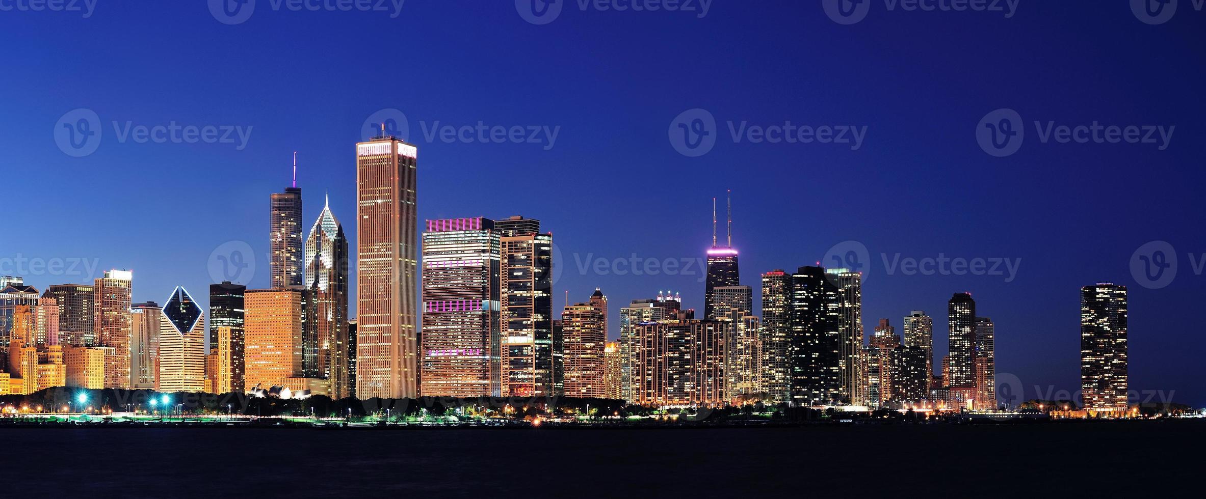 Chicago nacht panorama foto