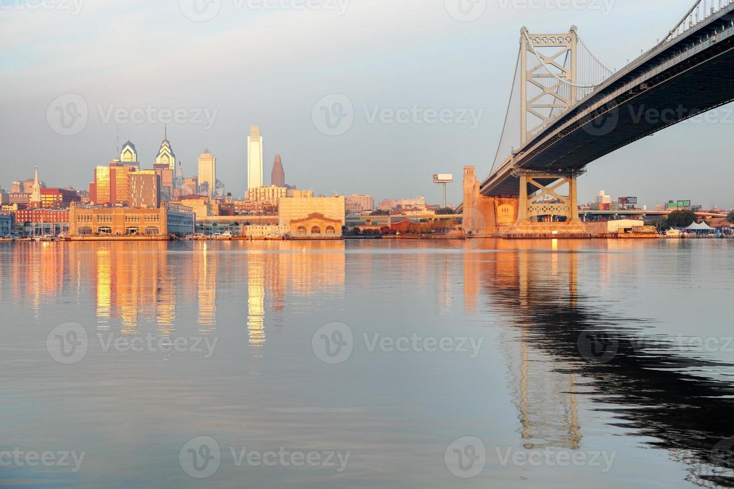 Philadelphia skyline bij zonsopgang foto