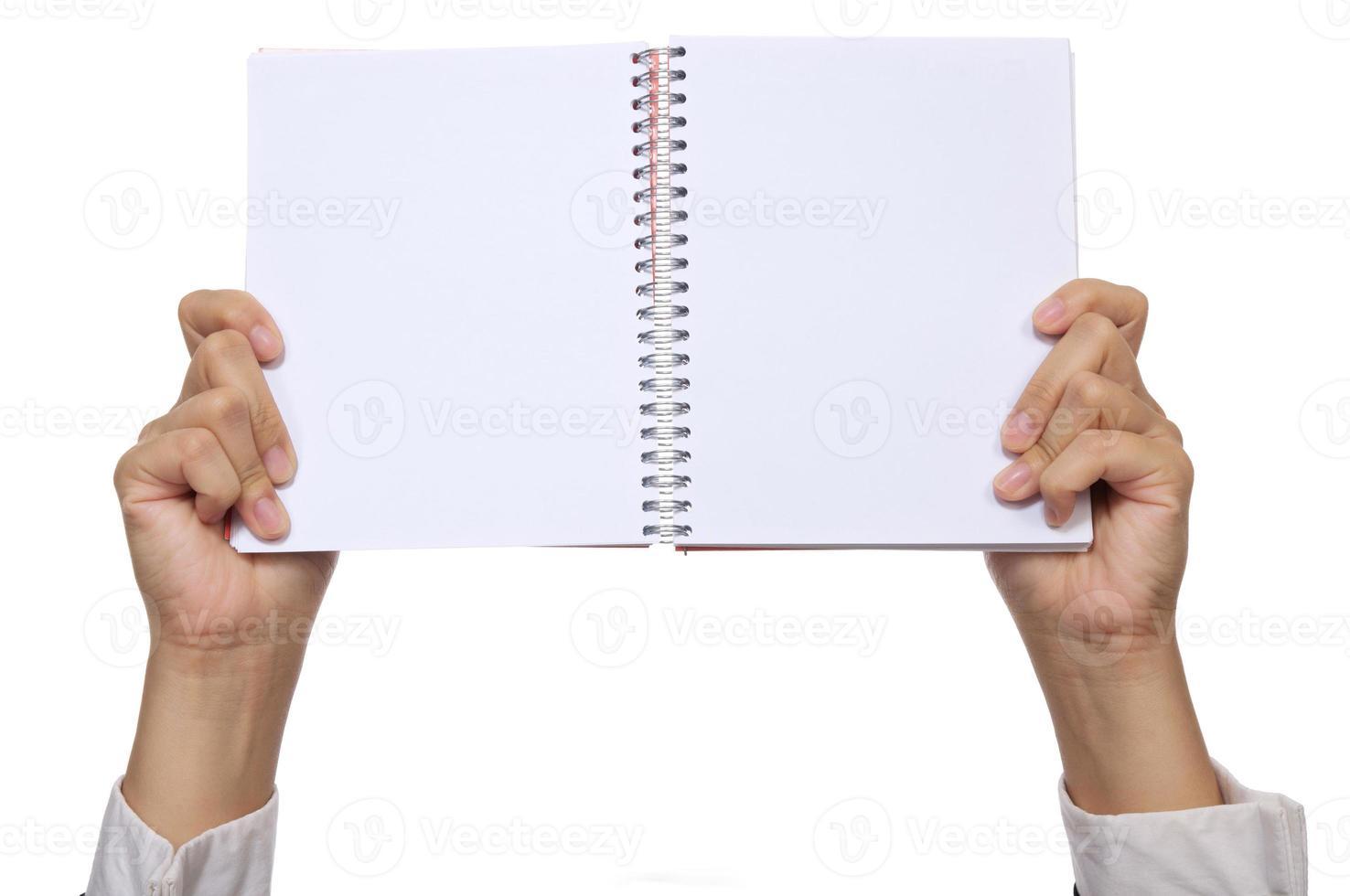 hand houden notebook foto