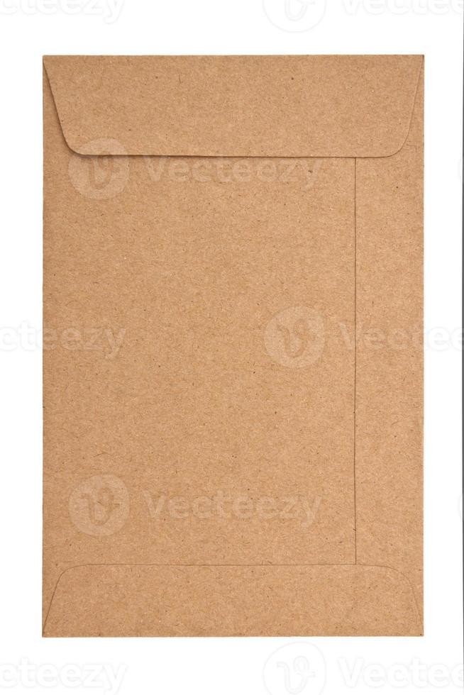 papieren envelop geïsoleerd op een witte achtergrond foto