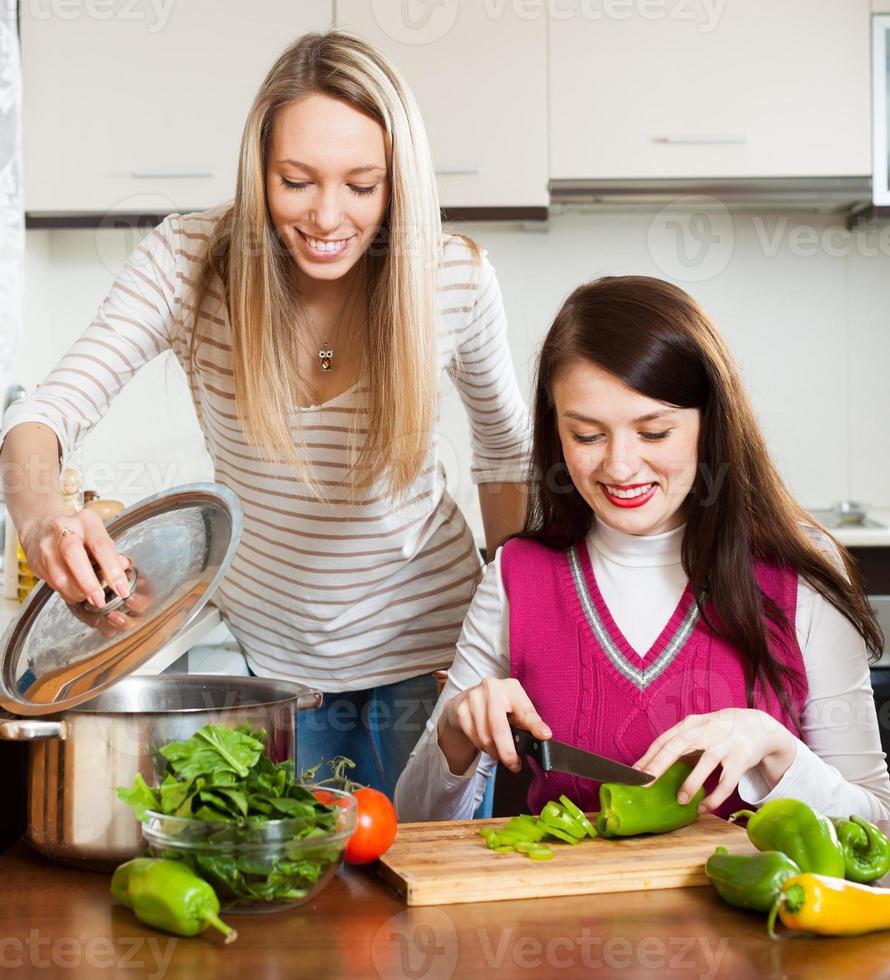 twee lachende vrouwen samen koken foto