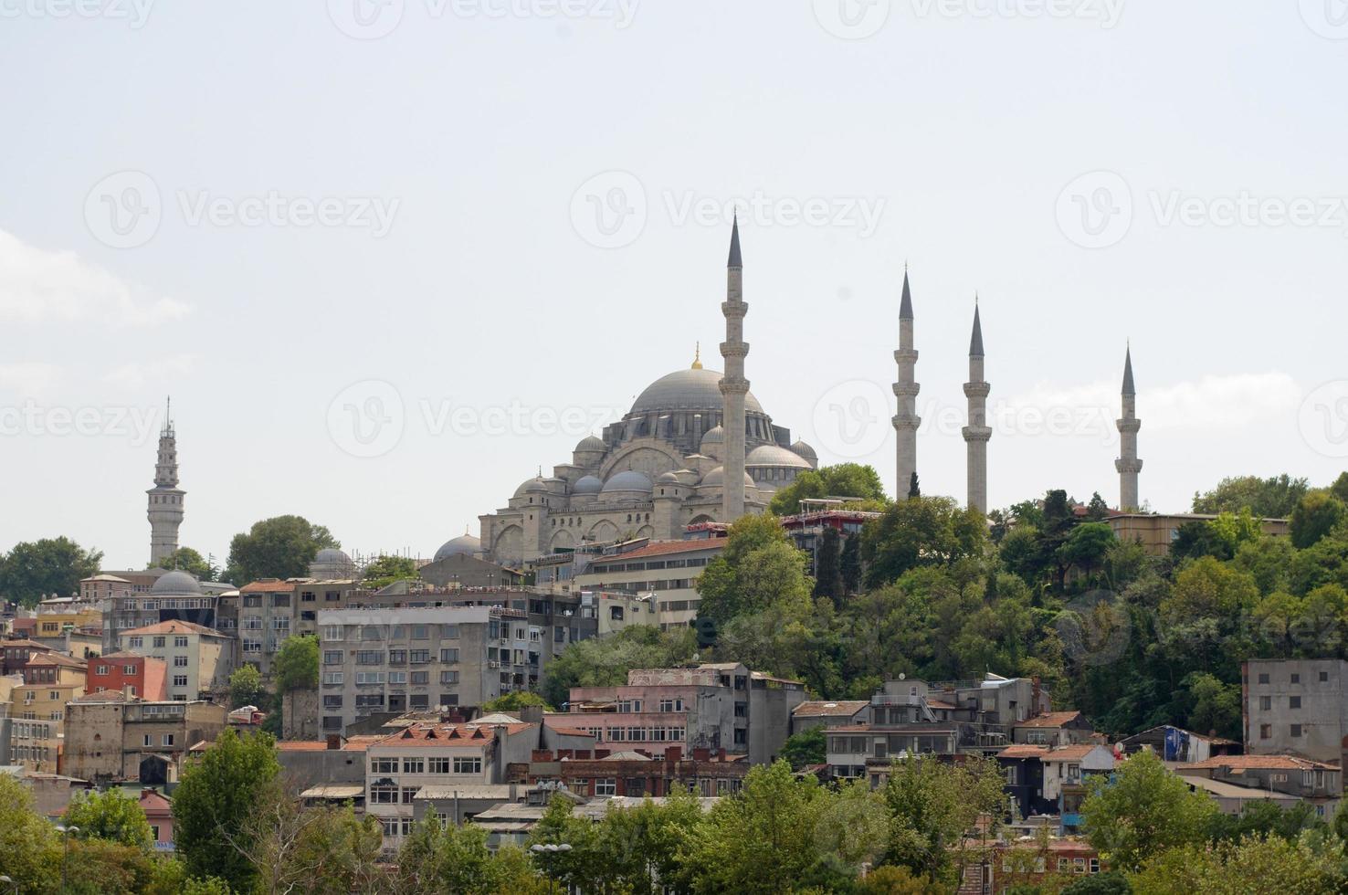 weergave van suleymaniye camii (suleymaniye moskee) istanbul stad, turkije foto